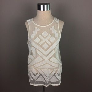 Lucky Brand paneled mesh sleeveless cream top